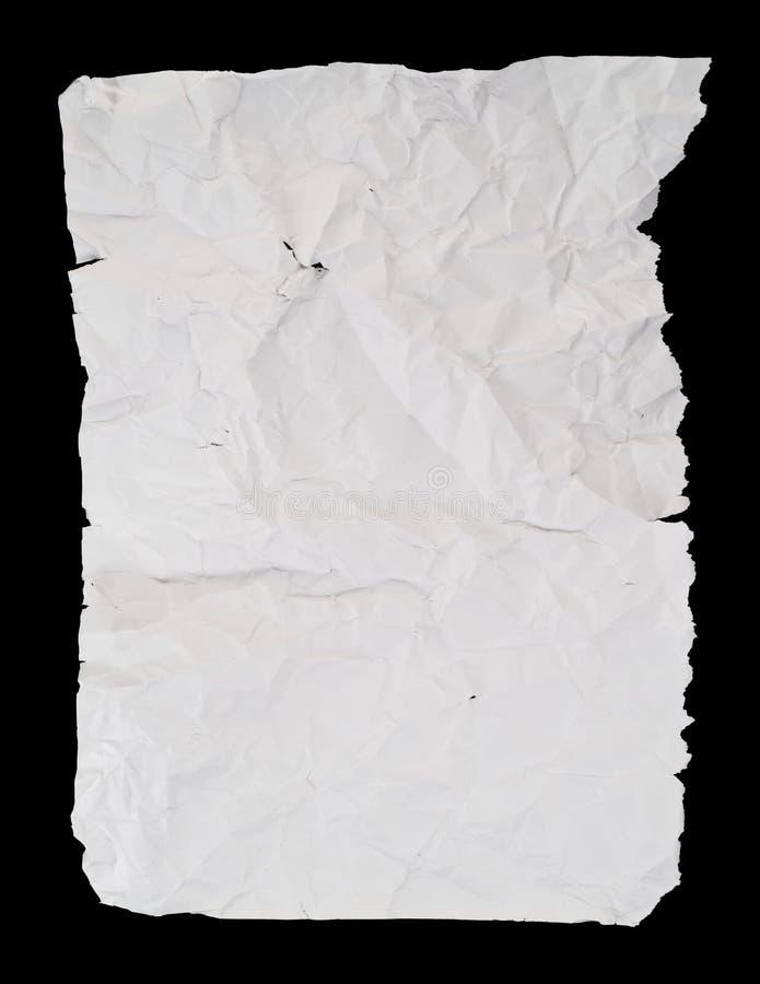 Creased и сморщенный скомканный лист белой бумаги стоковое фото rf