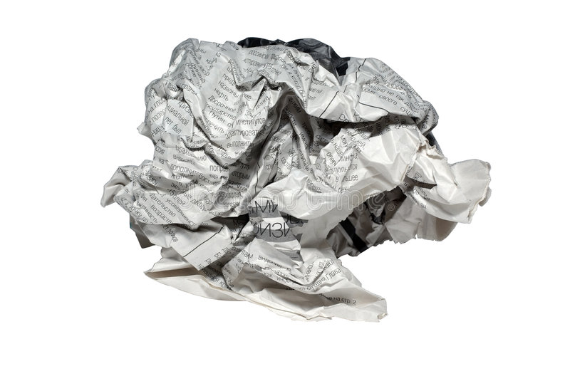 Crumpled newspaper paper ball isolated white background trahs waste recycle news rubbish material recycling crushed screwed page stock photos