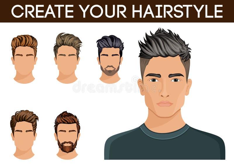 Create, Change Hairstyles. Men Hair Style Symbol Hipster Beard ...