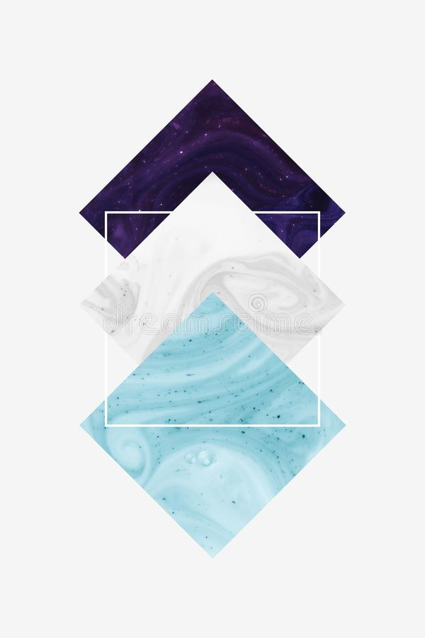 Create design with dark purple, white and blue rhombus and square, isolated on white royalty free stock images