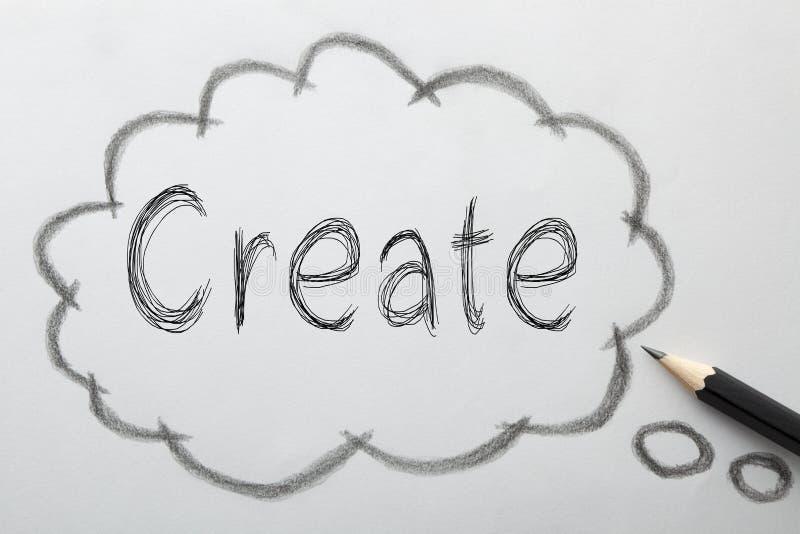 Create geschrieben auf Blase stockbild