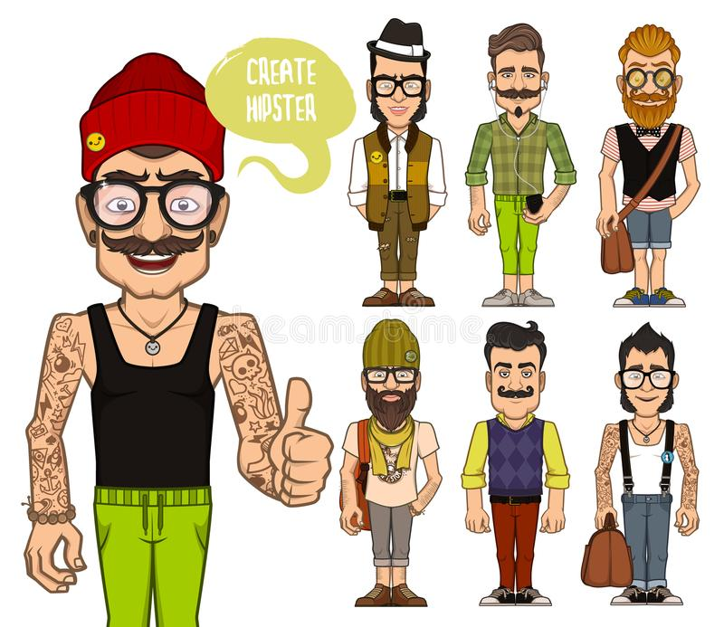 Create hipsters characters. Part 2 vector illustration