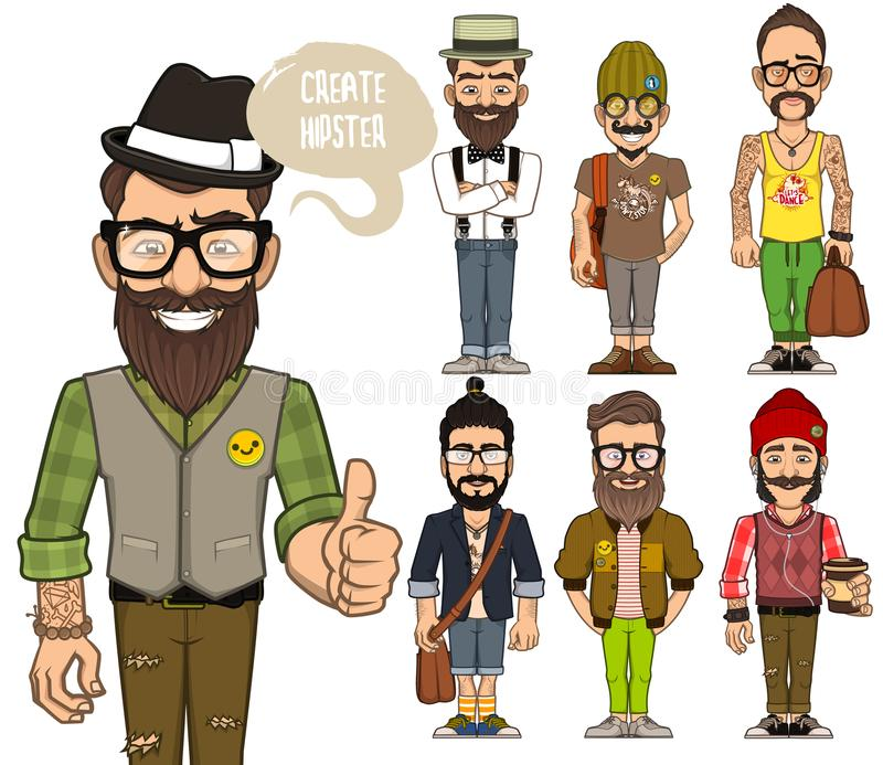 Create hipsters characters stock photo