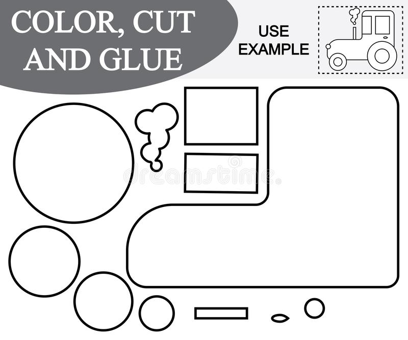 Create the image of tractor transport using scissors and glue. stock illustration