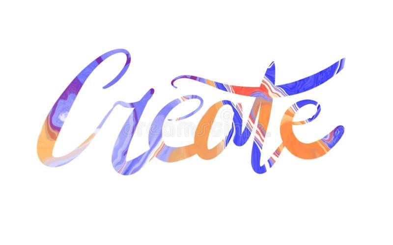 Creatie inscription multicolored gouache isolated on white stock photos
