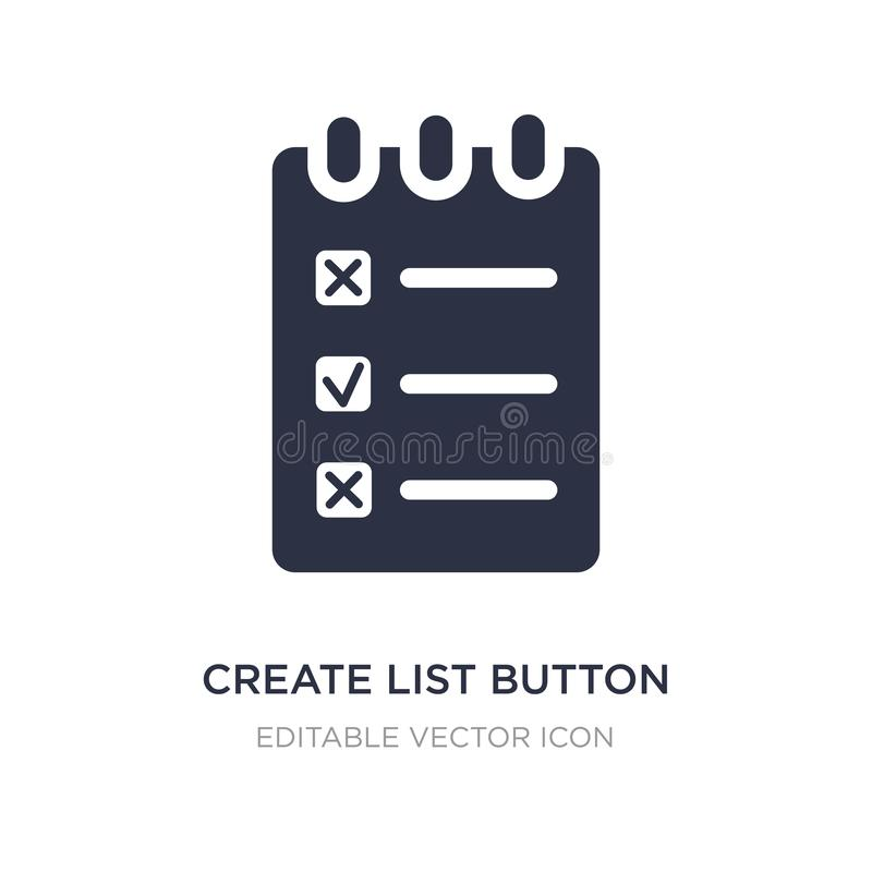 create list button icon on white background. Simple element illustration from Web concept royalty free illustration