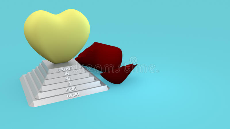 Create In Me a Pure Heart Christian Illustration stock photos