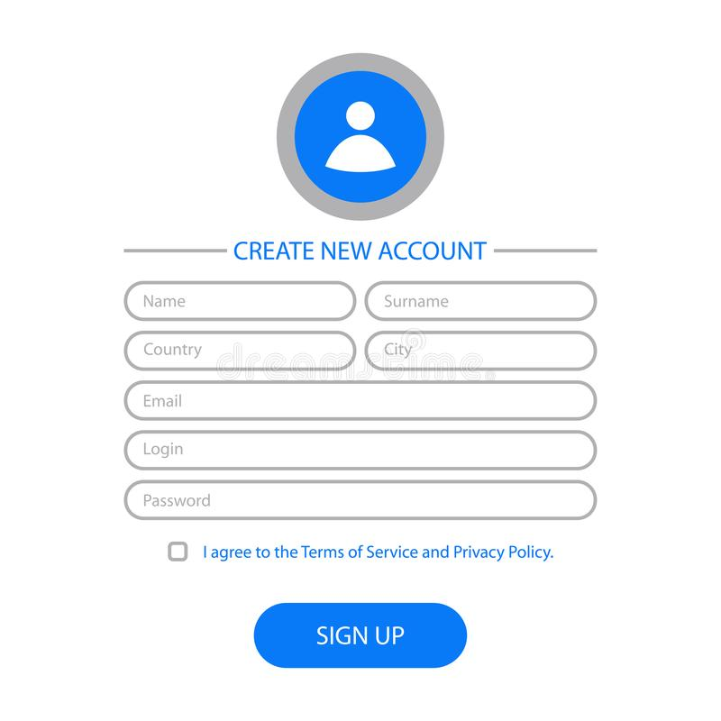 Create new account - web form design. Website user interface for registration page. Template for UI, GUI and UX. Vector. Create new account - web form design stock illustration