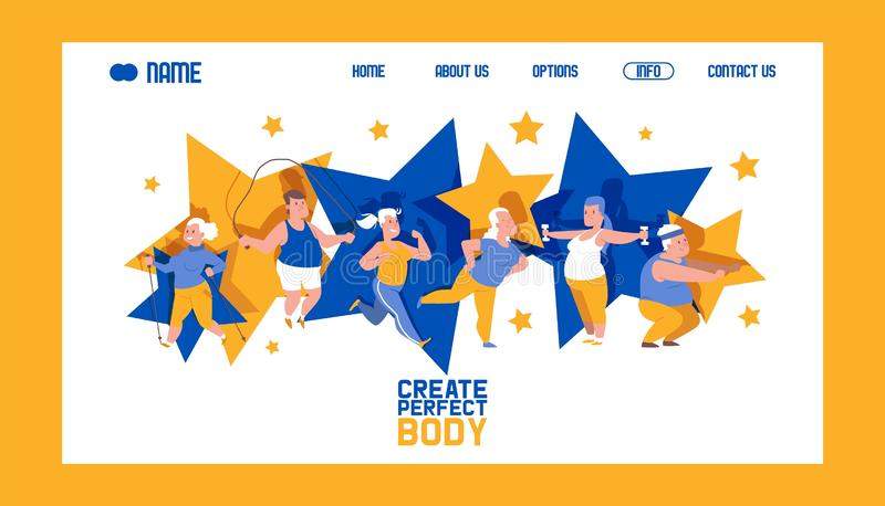 Create perfect body banner web design vector illustration. People with overweight doing exercises. Obese man and woman stock illustration