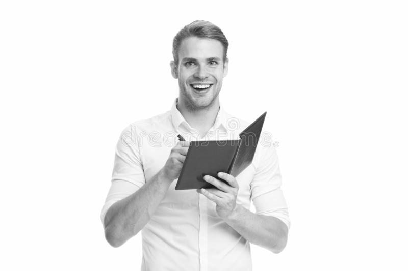 Create daily plan. Man office worker or manager cares about time management. Worker planning daily business schedule. Guy with notepad and pen noticing. Plan stock photography