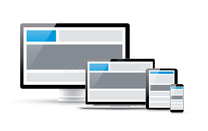 Create responsive web site design in four electron royalty free illustration