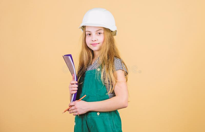 Create room you always dreamed. Control renovation process. Kid happy renovating home. Home improvement activity. Kid royalty free stock image