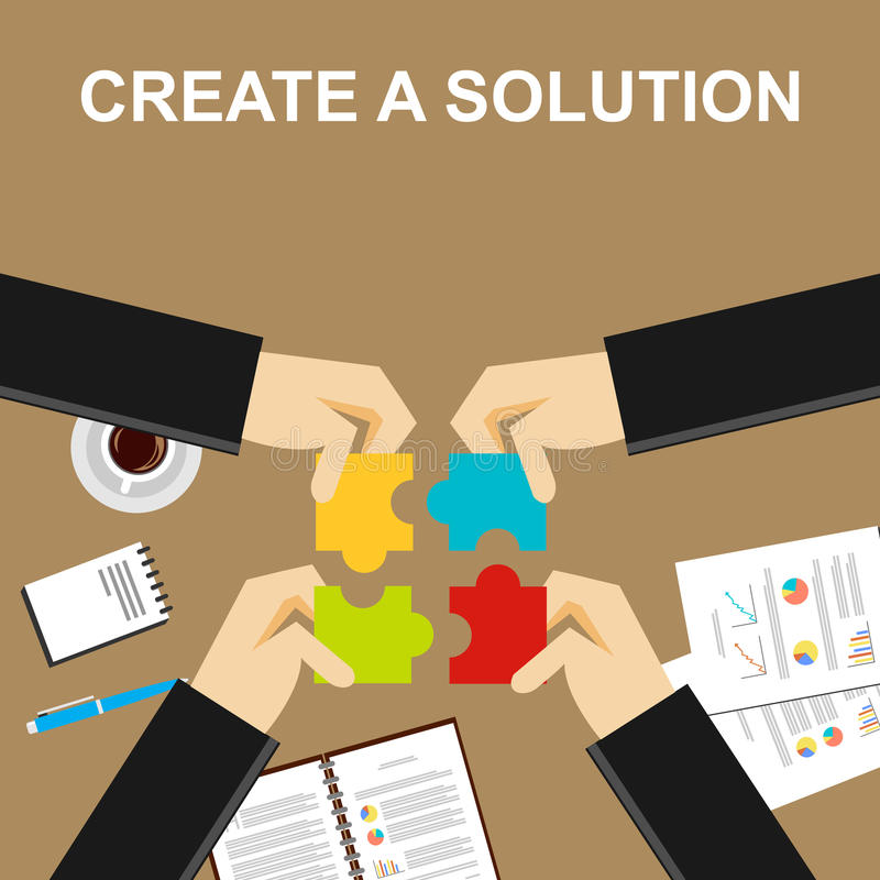 Create a solution illustration. Making a solution concept. Business people with puzzle pieces. Flat design illustration concepts stock illustration