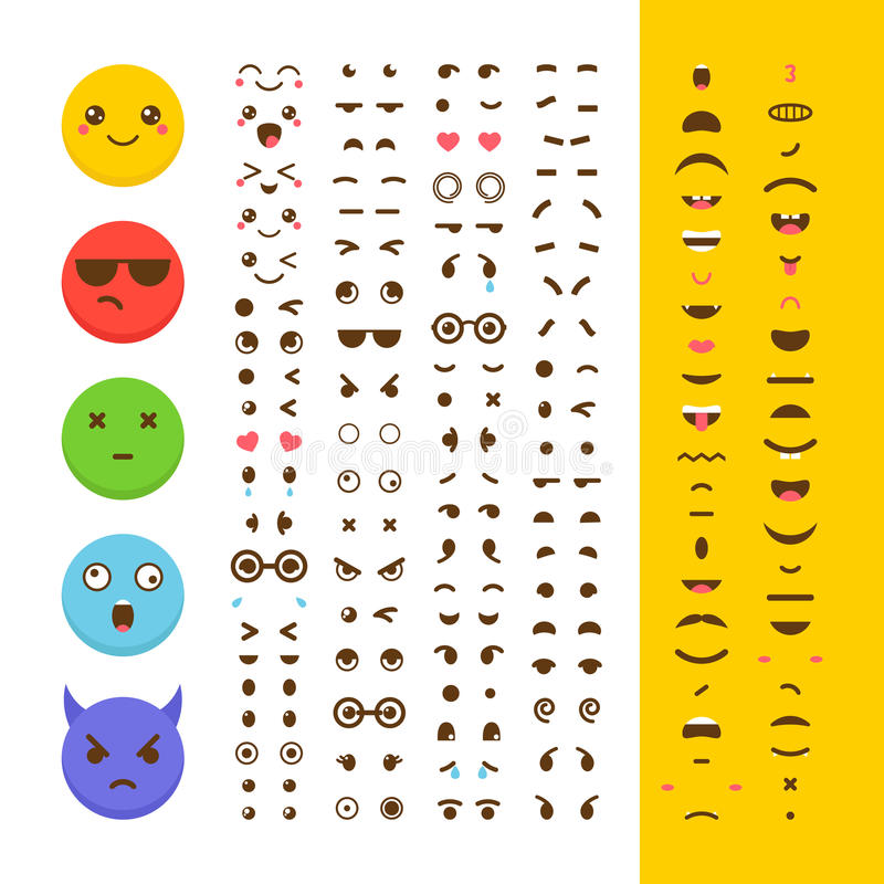 Create your own emoticon. Kawaii faces. Emoji. Avatar. Character vector illustration