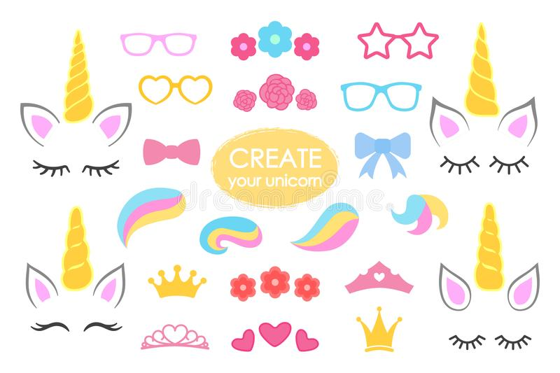 Create your own unicorn - big vector collection. Unicorn constructor. Cute unicorn face. Unicorn details - Horhs, eyelashes, ears,. Hairstyles, flowers, crowns stock illustration