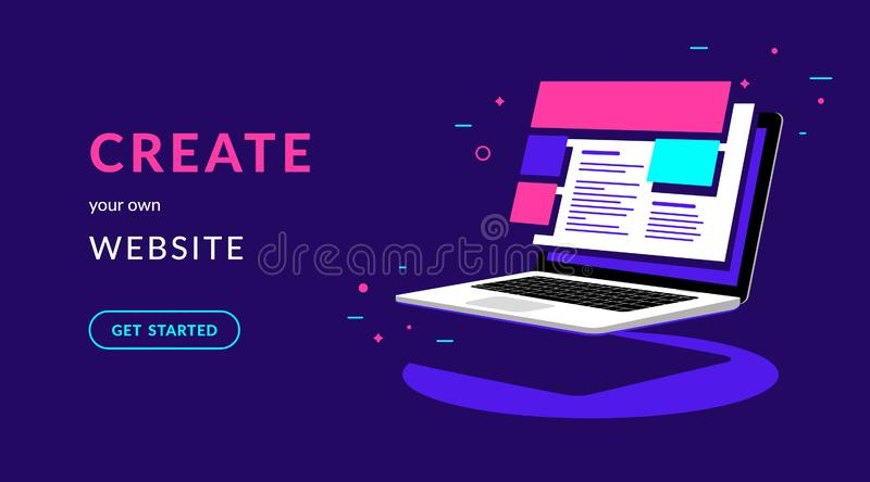 Create your own website flat vector neon illustration for web banner with text. And button. Isometric laptop with templates for developing corporate website or vector illustration
