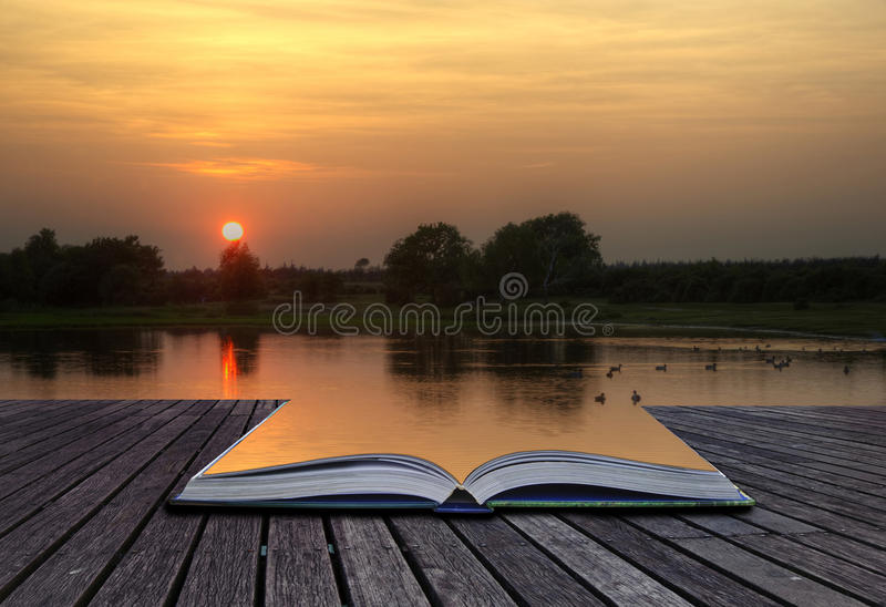 Creatie Concept Image Of Sunset And Lake In Pages Stock Images