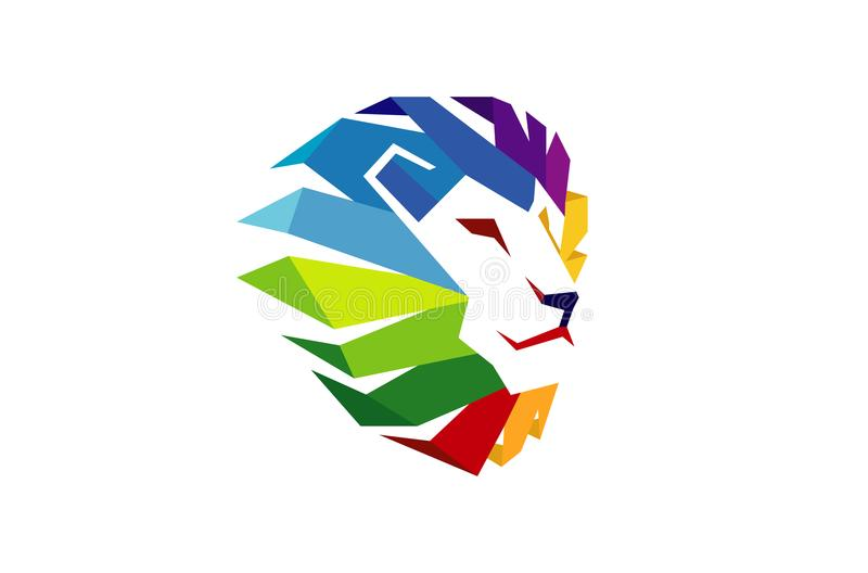 Creatief Abstract Kleurrijk Lion Head Logo vector illustratie