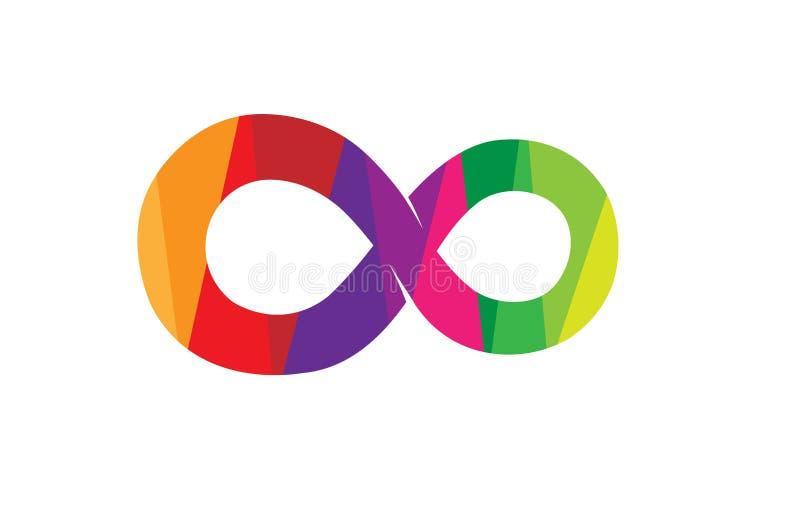 Creatief Abstract Kleurrijk Oneindigheidssymbool Logo Design royalty-vrije illustratie