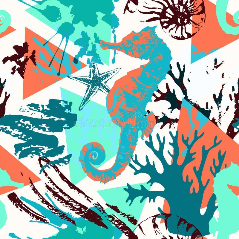 Creatief abstract waterverf marien naadloos patroon stock illustratie