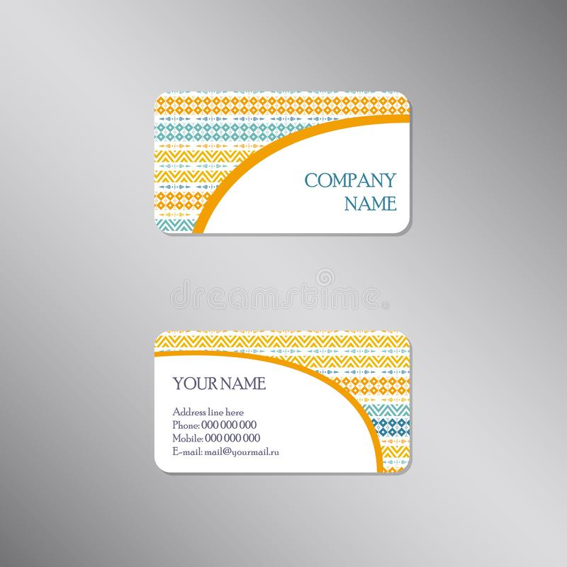 Creatief adreskaartje met geometrisch helder ornament vector illustratie