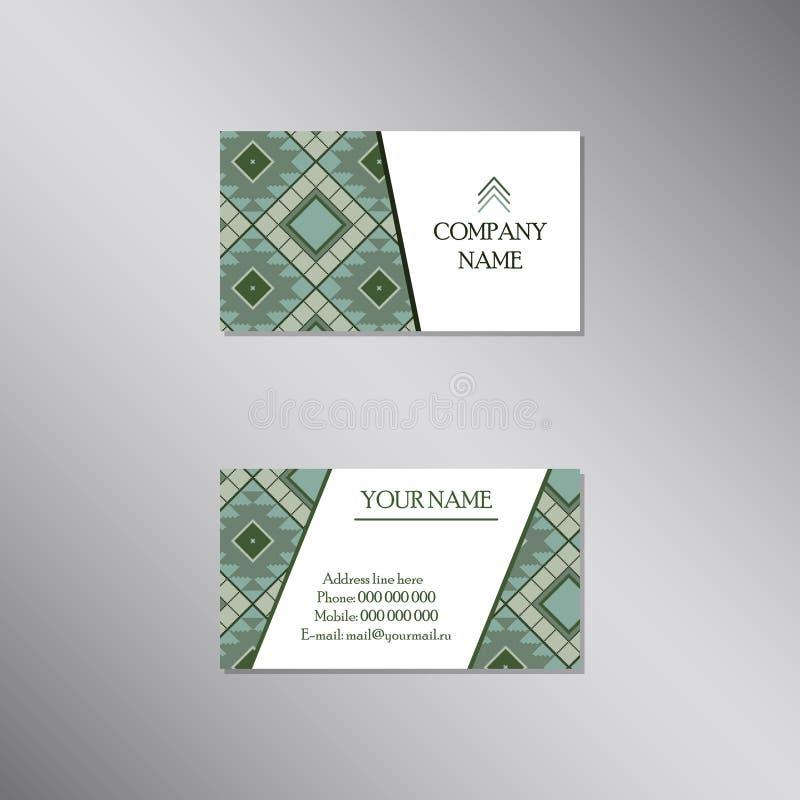 Creatief adreskaartje met geometrisch modern ornament Ve stock illustratie