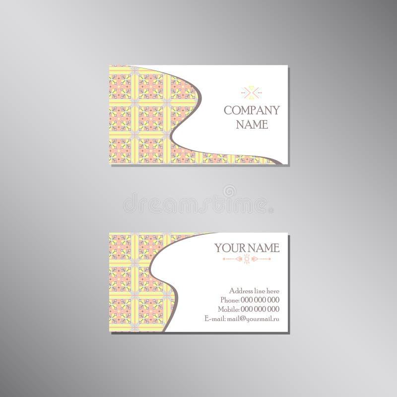 Creatief adreskaartje met pastelkleur traditioneel ornament stock illustratie