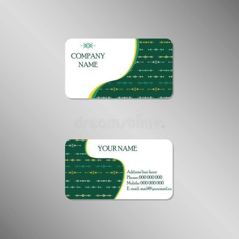 Creatief adreskaartje met stammen donkergroen ornament vector illustratie