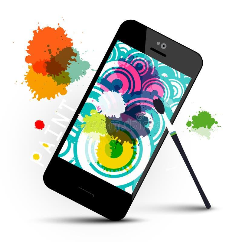 Creatief Art Application op Mobiele Telefoon vector illustratie