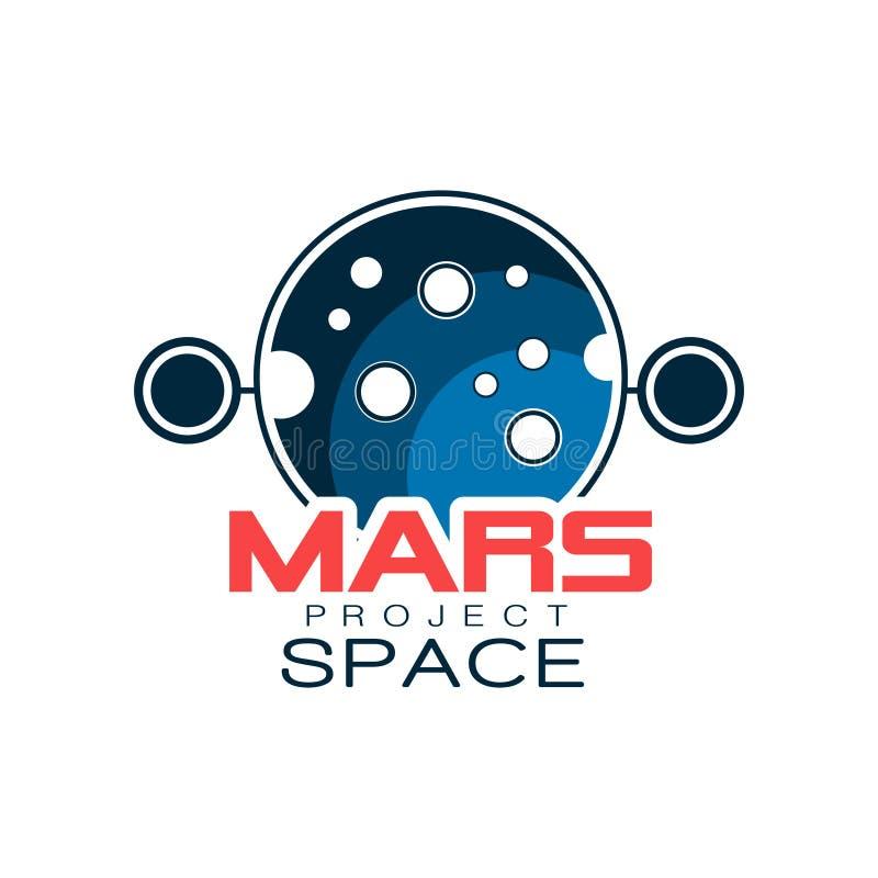 Creatief astronomisch embleem met planeet Het project van Mars, ruimteontdekking Gekleurd pictogram in overzichtsstijl met inschr royalty-vrije illustratie