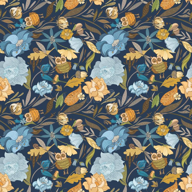 Creatief Autumn Blue Vector Pattern royalty-vrije illustratie