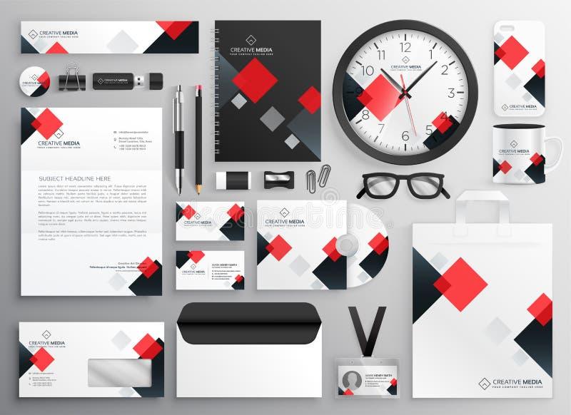 Creatief bedrijfsdiekantoorbehoeftenzakelijk onderpand in rood thema wordt geplaatst stock illustratie