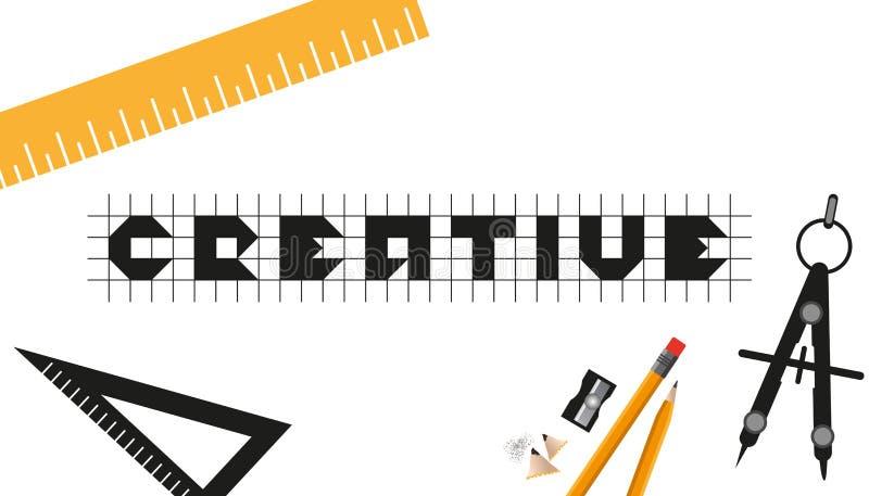 Creatief Bedrijfsontwerp met Grafische Ontwerper Tools - VectordieIllustratie - op Witte Achtergrond wordt geïsoleerd stock illustratie