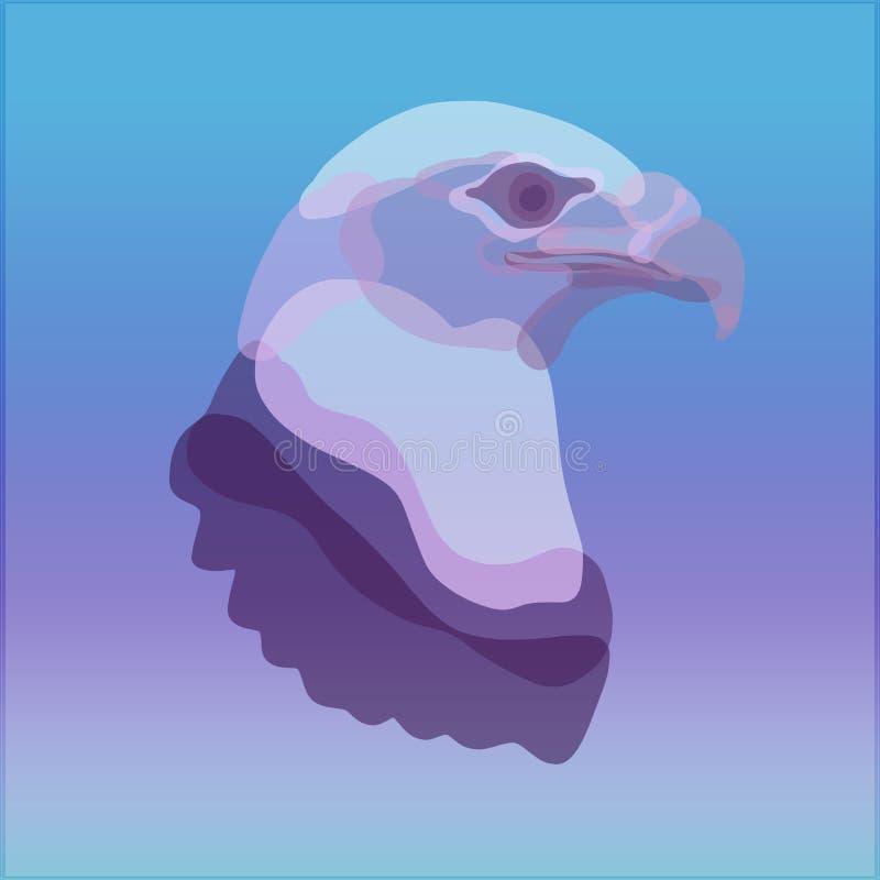 Creatief beeld van een adelaar met vlekken op de achtergrond met g stock illustratie