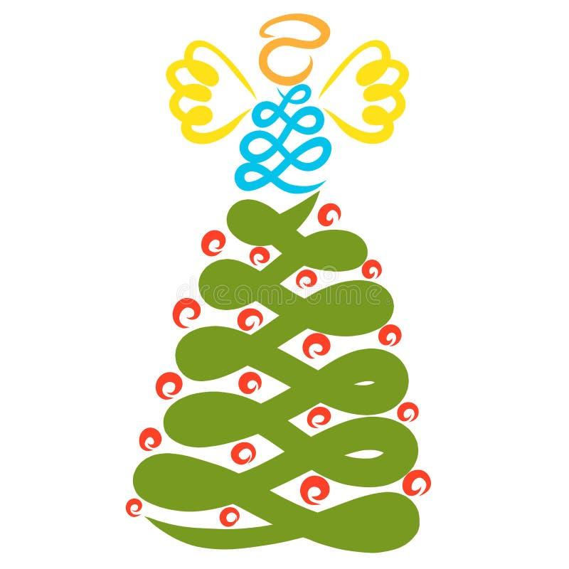 Creatief beeld van een Kerstboom met speelgoed en een engel vector illustratie