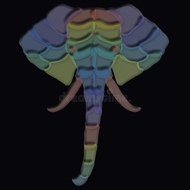 Creatief beeld van een olifants` s hoofd van kleurrijk transparant volume vector illustratie