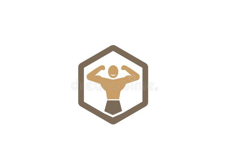 Creatief Bodybuilder Hexagon Embleem royalty-vrije illustratie