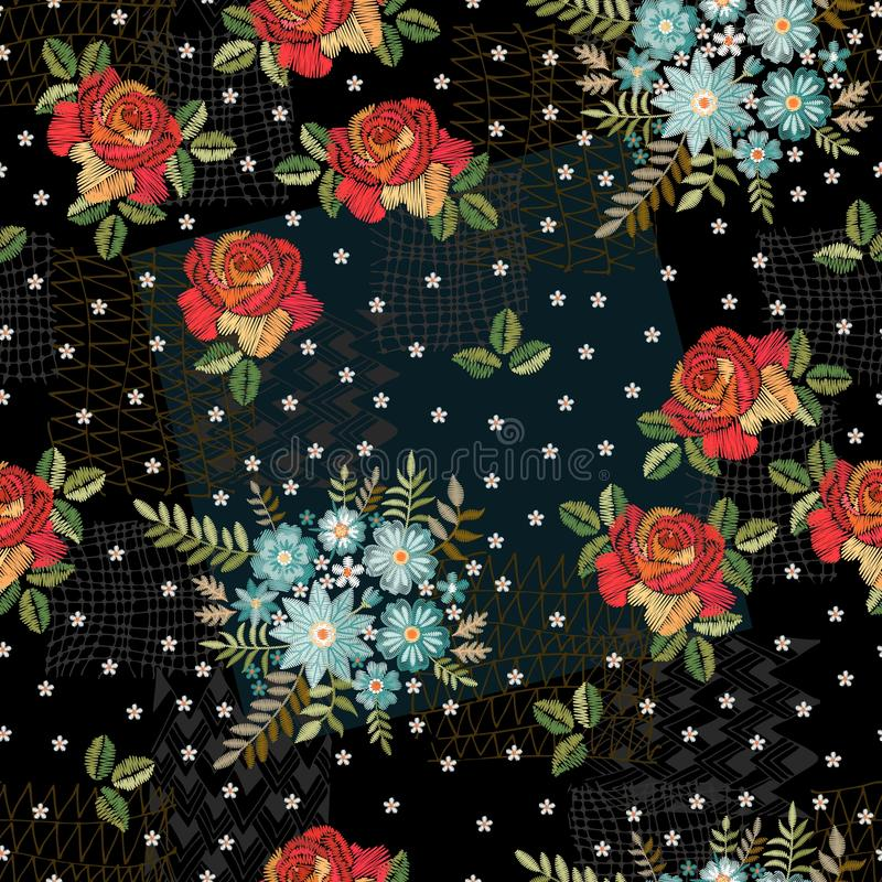 Creatief borduurwerk naadloos patroon Originele combinatie rode rozen en boeketten van blauwe wilde bloemen royalty-vrije illustratie