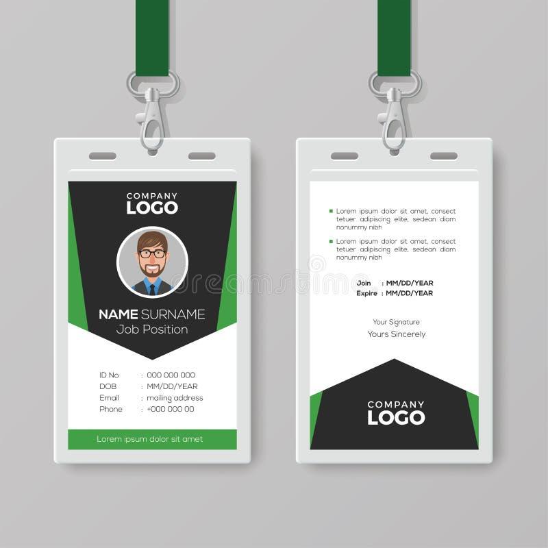Creatief Collectief Identiteitskaartmalplaatje met Groene Details royalty-vrije illustratie