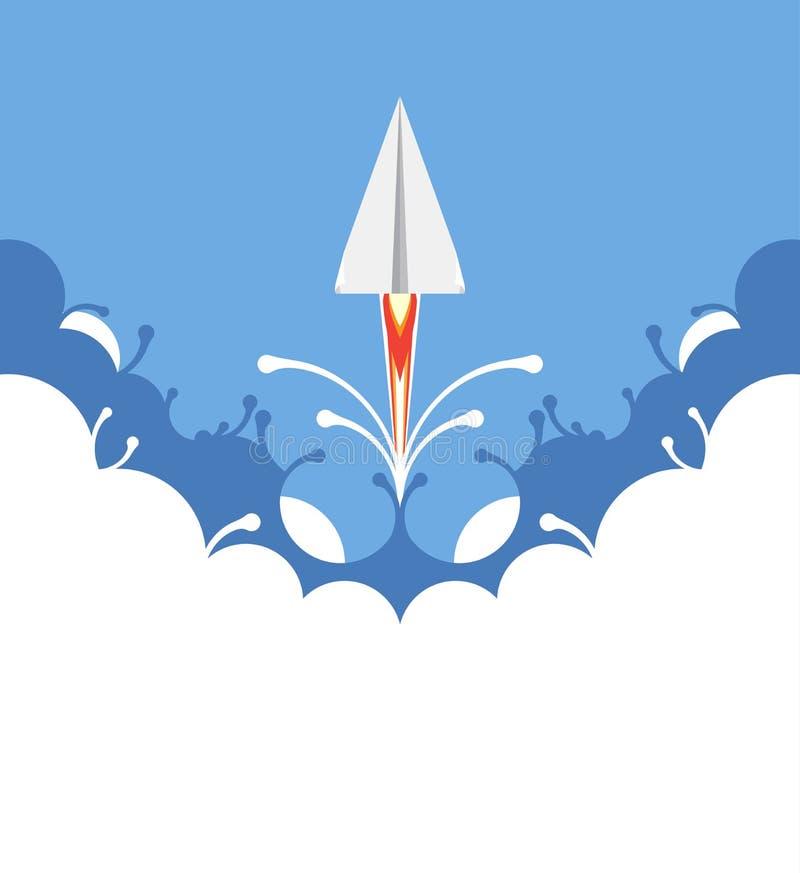Creatief concept, document vliegtuig die, vectormalplaatjeontwerp vliegen royalty-vrije illustratie