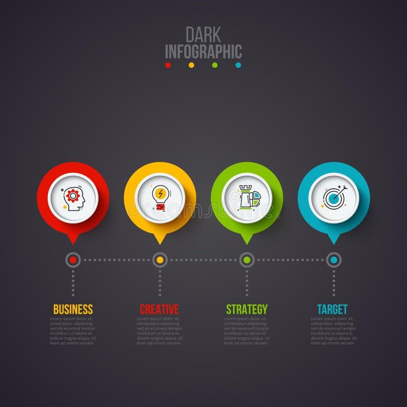Creatief concept voor donkere infographic Bedrijfsgegevensvisualisatie Abstracte cirkelelementen van grafiek, diagram met 4 vector illustratie