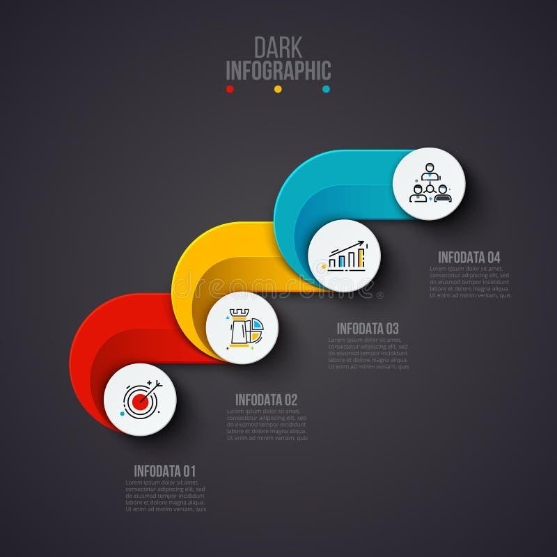 Creatief concept voor donkere infographic Bedrijfsgegevensvisualisatie Abstracte cirkelelementen van grafiek, diagram met 4 stock illustratie