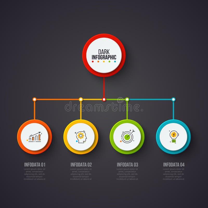 Creatief concept voor donkere infographic Bedrijfsgegevensvisualisatie Abstracte cirkelelementen van grafiek, diagram met 5 stock illustratie