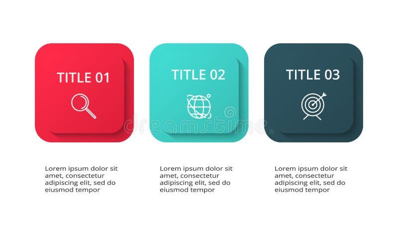 Creatief concept voor infographic met 3 stappen, opties, delen of processen Bedrijfsgegevensvisualisatie royalty-vrije illustratie