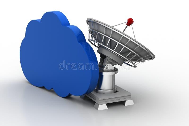 Creatief conceptenpictogram van satellietschotel voor wolkenconcept royalty-vrije illustratie