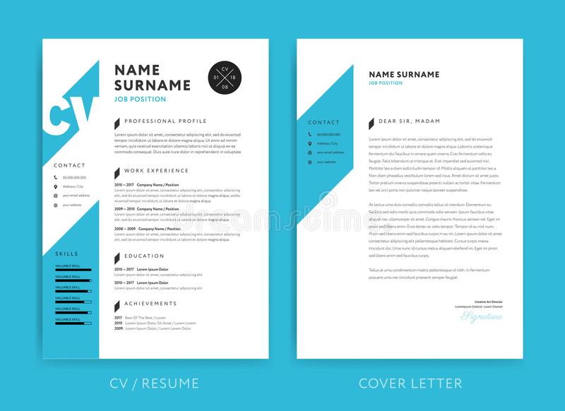Creatief cv/hervat malplaatje blauwe kleur als achtergrond minimalistisch v stock illustratie