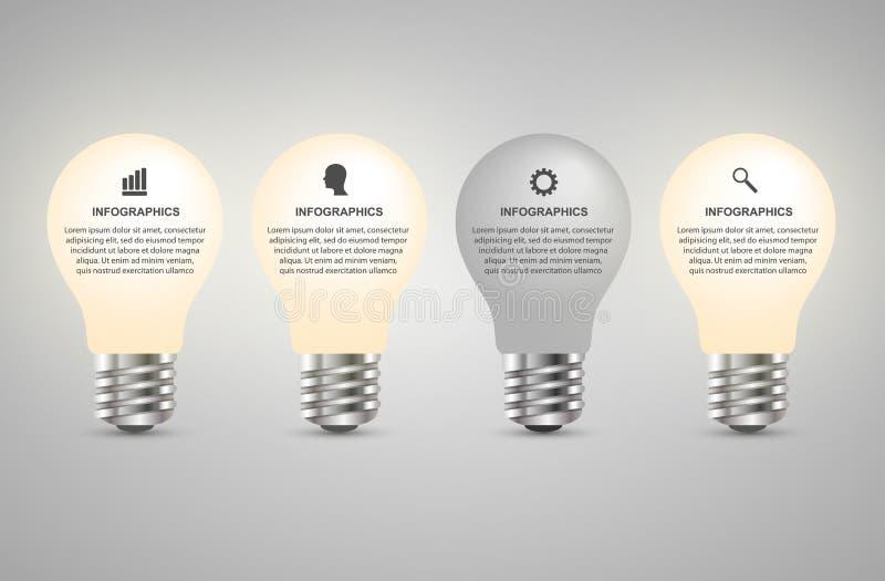 Creatief 3D het ontwerpmalplaatje van gloeilampeninfographics stock illustratie