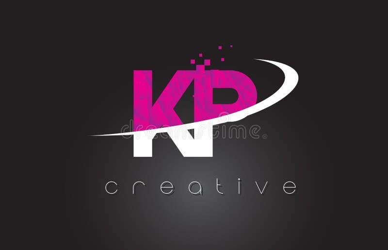 Creatief de Brievenontwerp van KP K P met Witte Roze Kleuren stock illustratie
