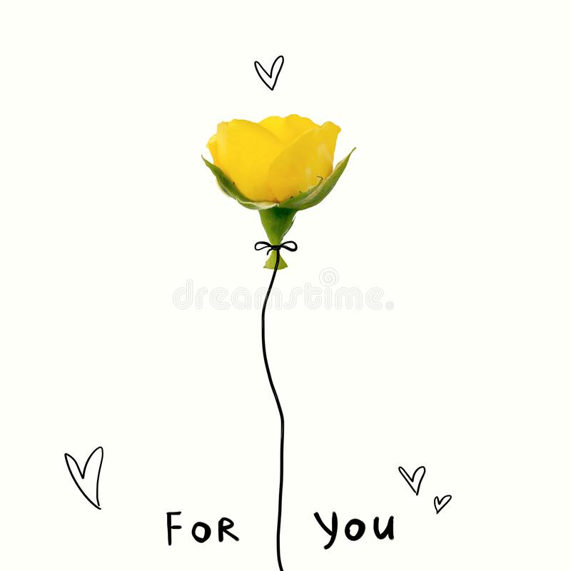 Creatief die concept van gele roze bloem met het van letters voorzien voor u wordt gemaakt Vlak leg Het concept van de Dag van va vector illustratie