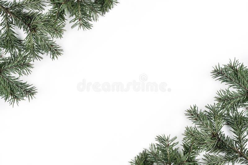 Creatief die kader van de takken van de Kerstmisspar op witte achtergrond wordt gemaakt Kerstmis en Gelukkig Nieuwjaarthema royalty-vrije stock afbeeldingen